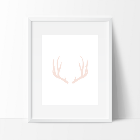 Antler Art, Pink, Modern Wall Art - Ink Print Art