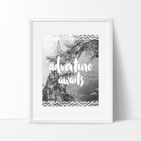 Adventure Awaits Typography, Wall Art, Indie Bohemian - Ink Print Art