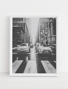 NYC City Street Taxi Printable Art