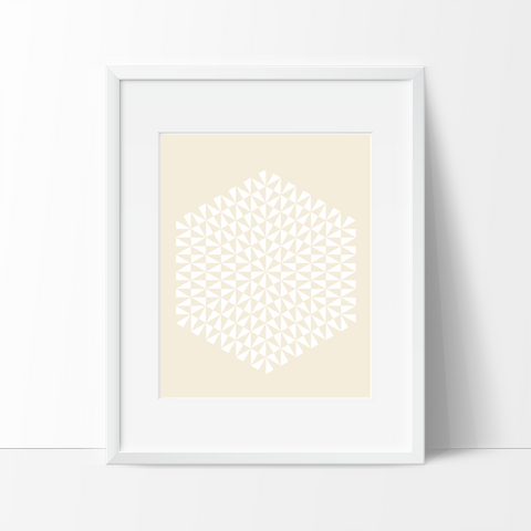 Modern Geometric Art Print - Yellow - Ink Print Art