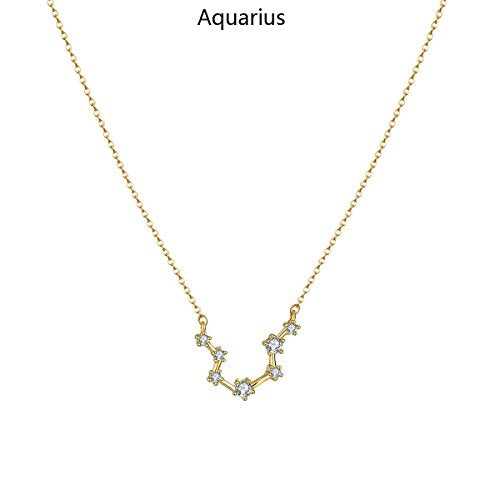 Aquarius Constellation Necklace 14K Gold Plated Pendant Dainty Horoscope Sign Zodiac Model Choker Personalized Birthday Gift for Women