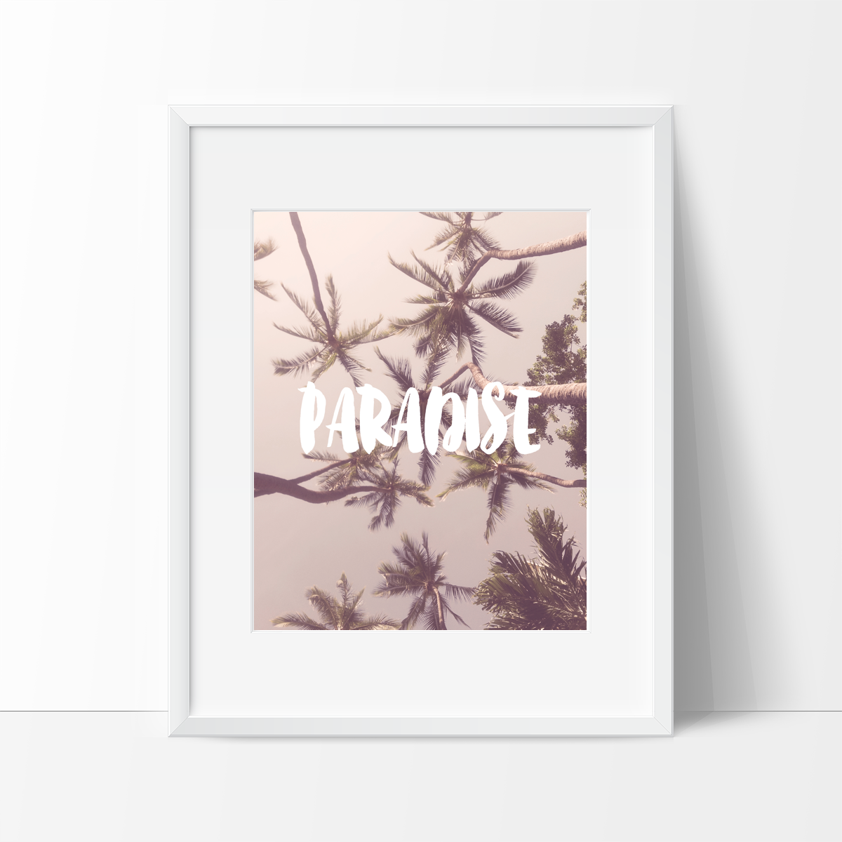 Paradise Typography in Pink, Wall Art, Indie Bohemian - Ink Print Art