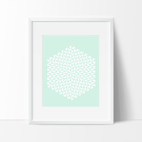 Modern Geometric Art Print - Green - Ink Print Art