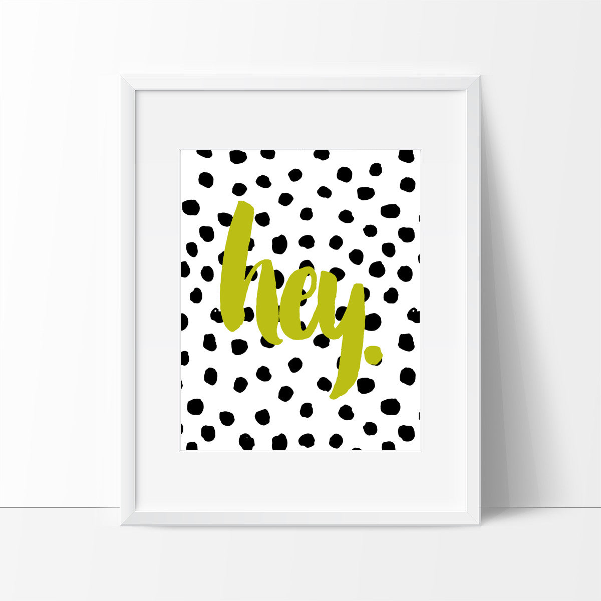 Hey Typography in Yellow with Dots, Wall Decor Ideas - Ink Print Art