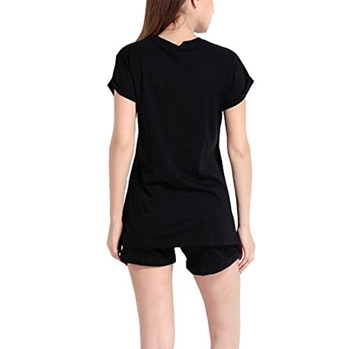 Women Skull Finger Printed Pullover Casual Tees T-Shirt Short Sleeve Tops