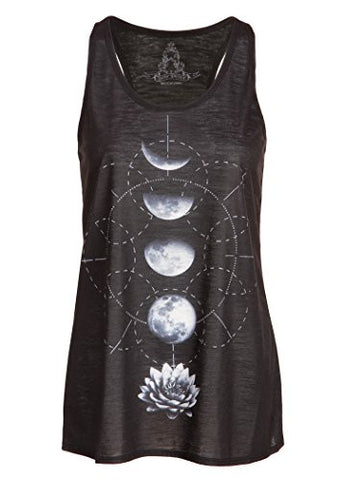 Womens Black Lotus Flower Moon Phases Yoga Loose Fit Tank Top