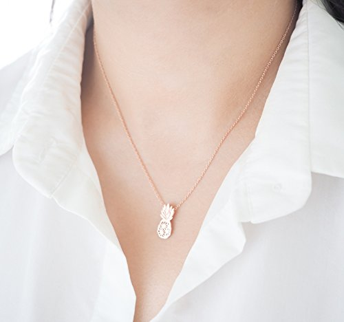 Dainty Pineapple Necklace Be A Pineapple (Rose Gold Plated Brass)
