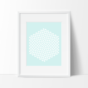 Modern Geometric Art Print - Blue - Ink Print Art