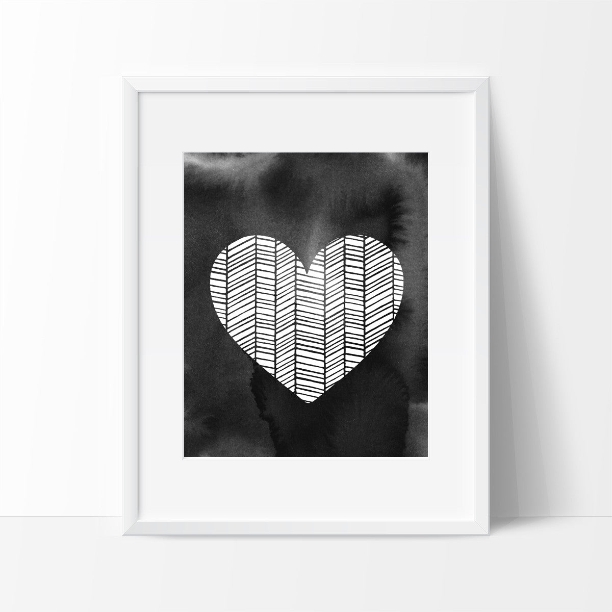 Patterned Heart with Brush Strokes in Black, Wall Decor Ideas - Ink Print Art