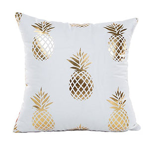 "Gold Pineapple Throw Pillow Case Cushion Cover 18"" x 18"" Inch Cotton Linen"