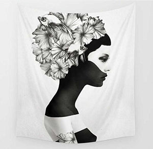 "Black White Girl Wall Tapestries (51.2"" X 59.1"")"