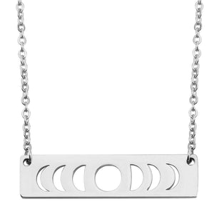 Moon Phase Necklace Bar Pendant Jewelry (Silver)