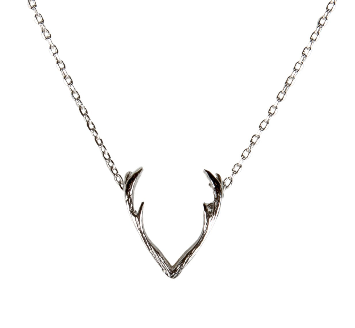 Deer Antler Necklace Silver