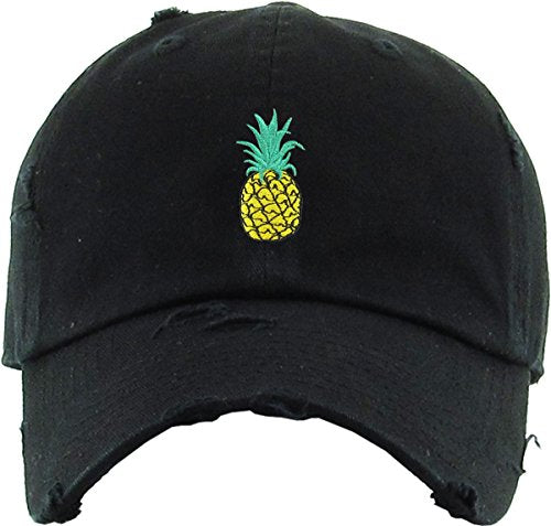 Pineapple Vintage Distressed Dad Hat Baseball Cap Polo Style Adjustable