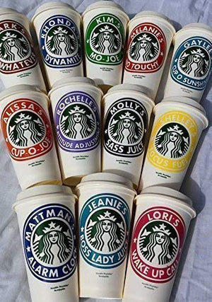 Personalized Reusable Starbucks Coffee Cup 16oz - Variety of Colors Available