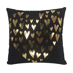 Decorative Pillow Covers 18x18 Inch Golden Love Heart Black Throw Pillow Covers Soft Home Pillowcases Sofa Cushion Covers 45x45cm