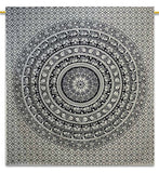 Traditional Hippie Cotton Tapestry, 90 x 90 inch Elephant Mandala Indian, Black and White, Queen - Ink Print Art  - 1