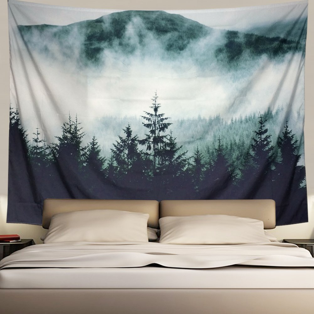 Misty Forest with Mountains Tapestry