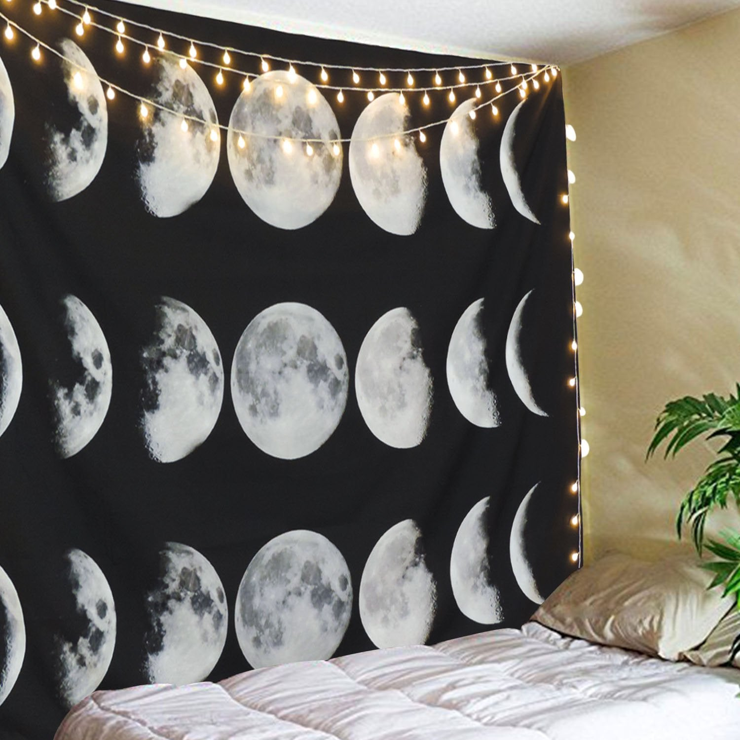 "Moon Phase Tapestry Wall Decor (Moon Phase Change, 59.1"" x 82.7"")"