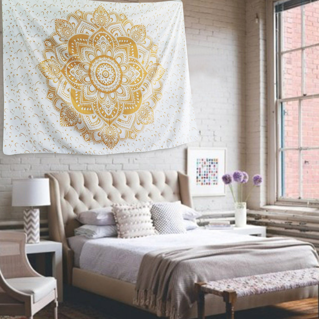 Mandala Tapestry Hanging Golden 51 x 59 Inches