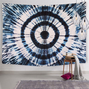 Round Single Mandala Blue & White Tapestry Hanging