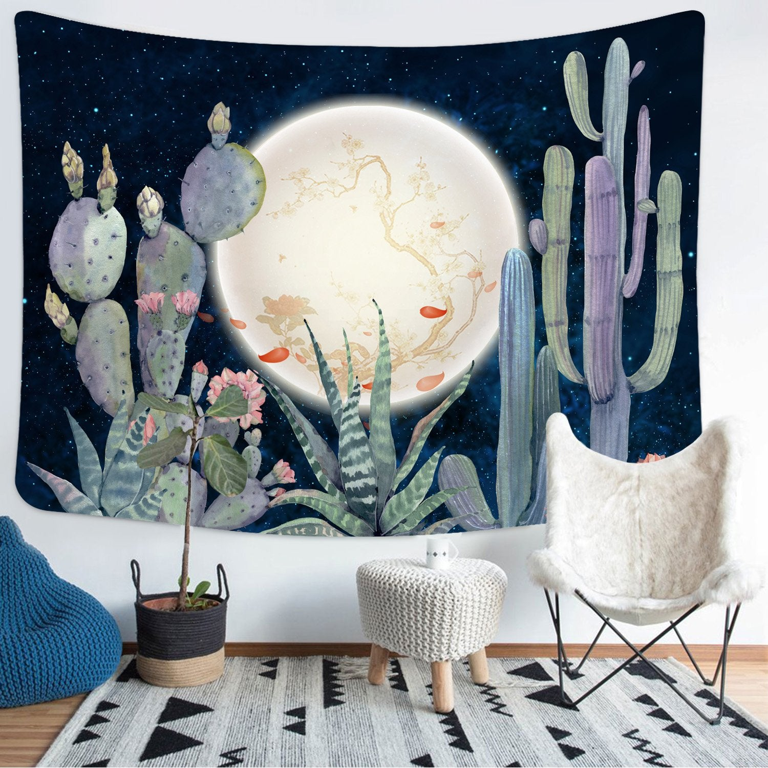Moon and Cactus Tapestry Wall Hanging Dorm Room