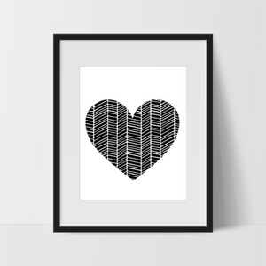 Zig Zag Heart, Wall Art, Black and White Modern Art