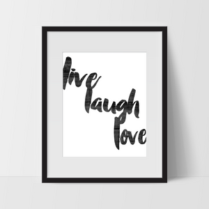 Motivational Wall Art in Wood, Live Laugh Love, Dorm Room Art, For The Home, Minimalist - Ink Print Art