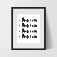 Motivational Wall Art in White, I Think I Can, Dorm Room Art, For The Home, Nursery Art, Minimalist