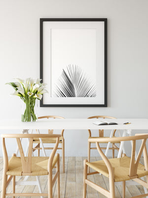 Palm Tree Leaf Art Black and White Printable Art