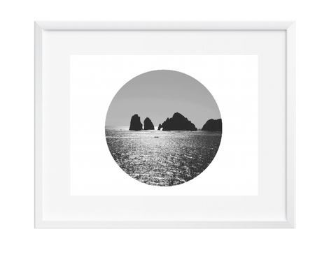 Round vast ocean wall art art print black and white contemporary 12x16