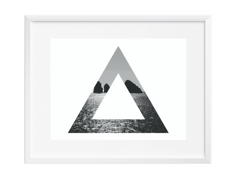 Triangle Vast Ocean Wall Art, Art Print, Black and White, Contemporary, 12x16 - Ink Print Art  - 1