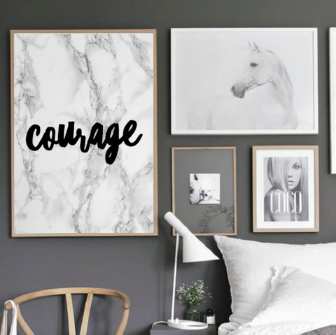 "Motivational Quote Poster ""Courage"" Home Office Dorm Living Room Decor [UNFRAMED] - Ink Print Art  - 1"
