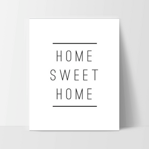 "Motivational Quote Poster ""Home Sweet Home"" Home Office Dorm Decor White - Ink Print Art"