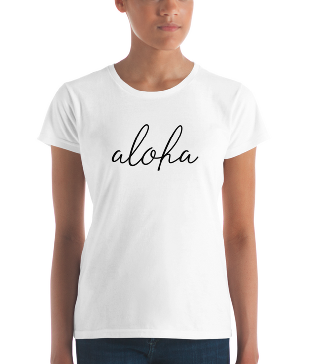 Aloha Simple Text Women's short sleeve t-shirt