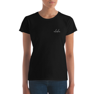 Aloha Black Simple Text Women's short sleeve t-shirt