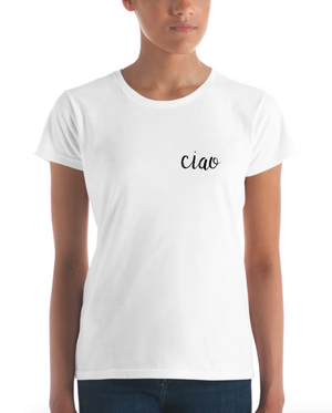 Ciao Black Handwritten Women's Short Sleeve T-shirt