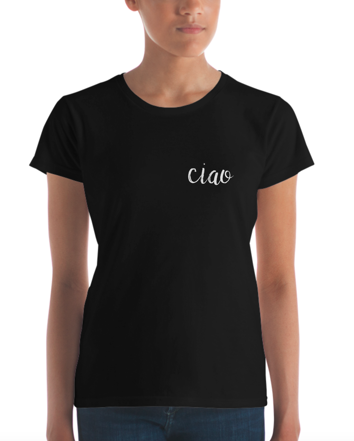 Ciao White Text Black Women's Short Sleeve T-shirt