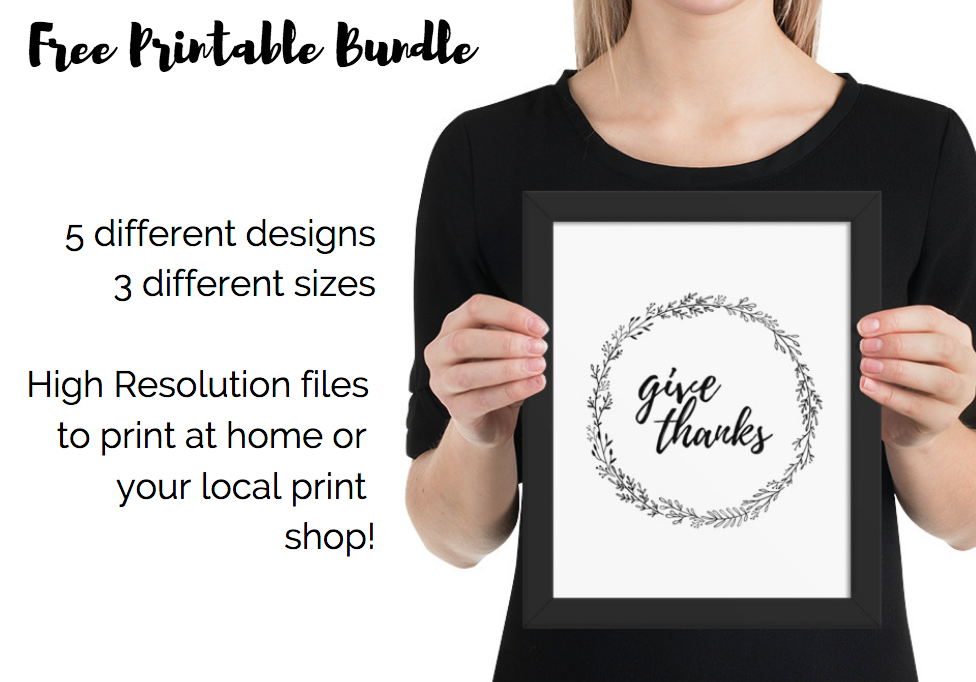 Thanksgiving Decor - Printables Instant Art - Bundle of 5 Designs