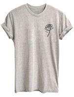 Dripping Rose Women Cute T Shirt Juniors Graphic Tops White Small
