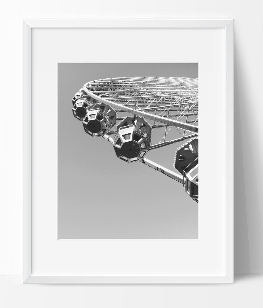 Ferris Wheel Art Photography, Black and White Modern Art, Prints - Ink Print Art