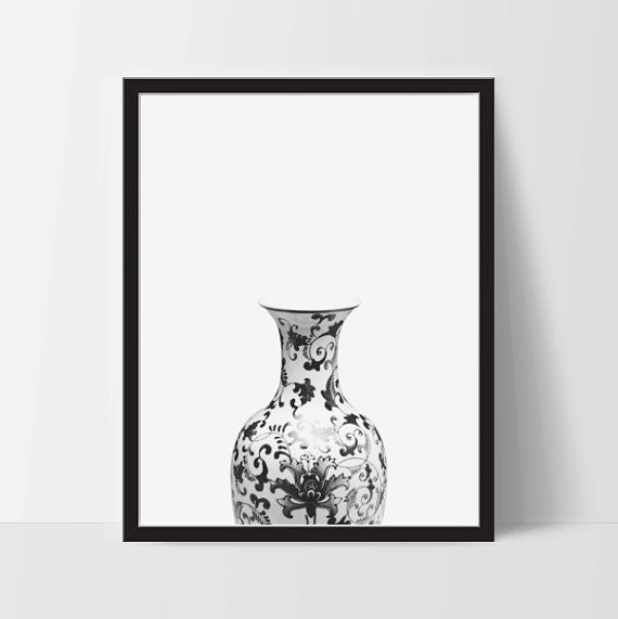 Decorative Vase Planter Printable Wall Art, Home Decor, Instant Download - Ink Print Art  - 1