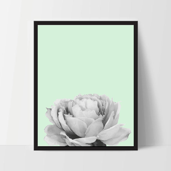 Mint Peony Flower, Wall Art, Artwork, Home Decor, Modern Print - Ink Print Art  - 1