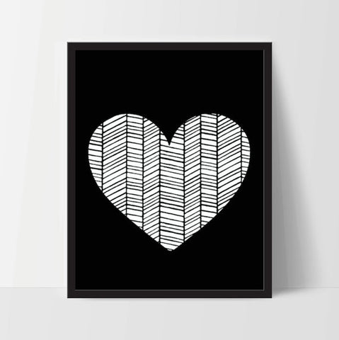[INSTANT DOWNLOAD] Black White Geometric Heart - Ink Print Art