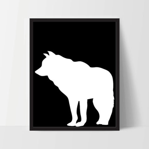 [INSTANT DOWNLOAD] Animal Wolf Wall Art in Black - Ink Print Art