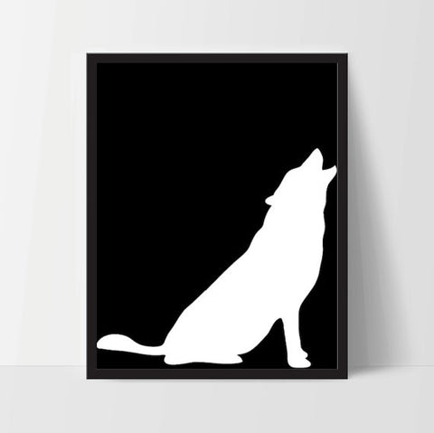 [INSTANT DOWNLOAD] Animal Howling Wolf Wall Art in Black - Ink Print Art