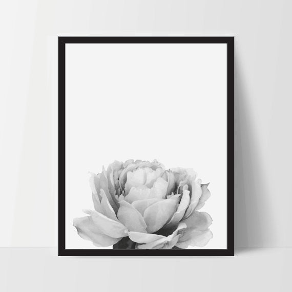 Peony Flower Printable Wall Art, Home Decor, Instant Download - Ink Print Art  - 1