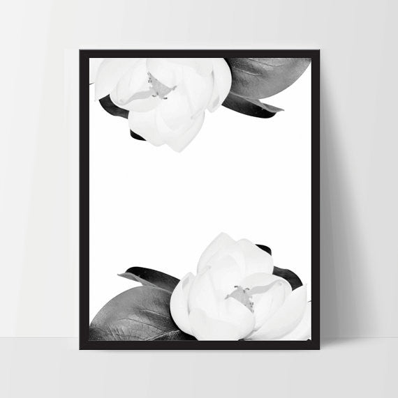 Magnolia Flower Art Wall Decor, Modern Art Decor - Ink Print Art  - 1