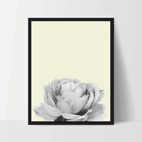 Yellow Peony Flower, Wall Art, Artwork, Home Decor, Modern Print, Print Art, Nature Art - Ink Print Art  - 1