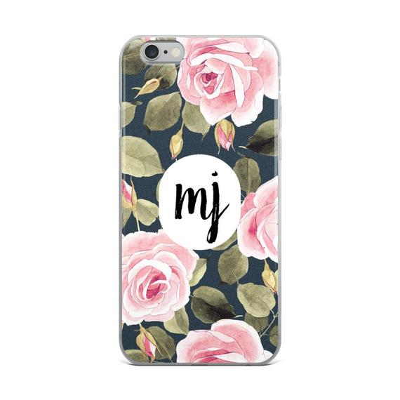 Personalized Custom Initials Name Rose Flower Case Cover for iPhone 6/6s, 6 Plus/6s Plus, 7/ 8, 7 Plus/8 Plus, X/XS, XS Max